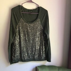 Cozy Sequined Crewneck | Wet Seal